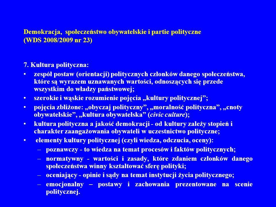 Demokracja, społeczeństwo obywatelskie i partie polityczne (WDS 2008/2009 nr 23) 7. Kultura polityczna: zespół postaw (orientacji) politycznych członk