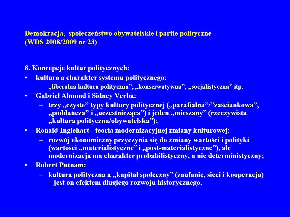 Demokracja, społeczeństwo obywatelskie i partie polityczne (WDS 2008/2009 nr 23) 8. Koncepcje kultur politycznych: kultura a charakter systemu polityc