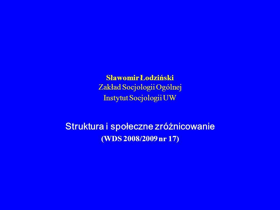 Sławomir Łodziński Zakład Socjologii Ogólnej Instytut Socjologii UW Struktura i społeczne zróżnicowanie (WDS 2008/2009 nr 17)