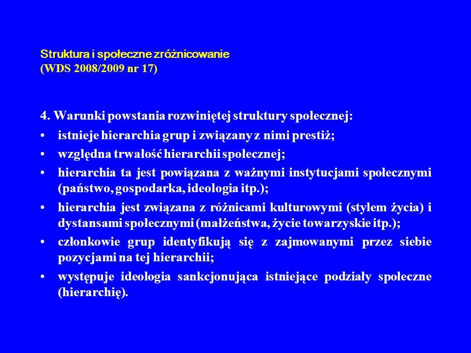 Struktura i społeczne zróżnicowanie (WDS 2008/2009 nr 17) 4. Warunki powstania rozwiniętej struktury społecznej: istnieje hierarchia grup i związany z