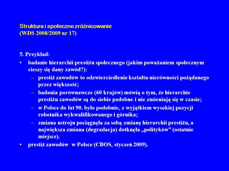 Struktura i społeczne zróżnicowanie (WDS 2008/2009 nr 17) 5. Przykład: badanie hierarchii prestiżu społecznego (jakim poważaniem społecznym cieszy się