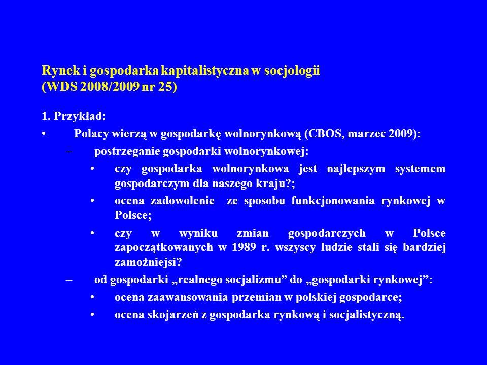 Rynek i gospodarka kapitalistyczna w socjologii (WDS 2008/2009 nr 25) 1. Przykład: Polacy wierzą w gospodarkę wolnorynkową (CBOS, marzec 2009): –postr