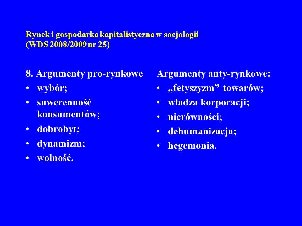 Rynek i gospodarka kapitalistyczna w socjologii (WDS 2008/2009 nr 25) 8. Argumenty pro-rynkowe wybór; suwerenność konsumentów; dobrobyt; dynamizm; wol