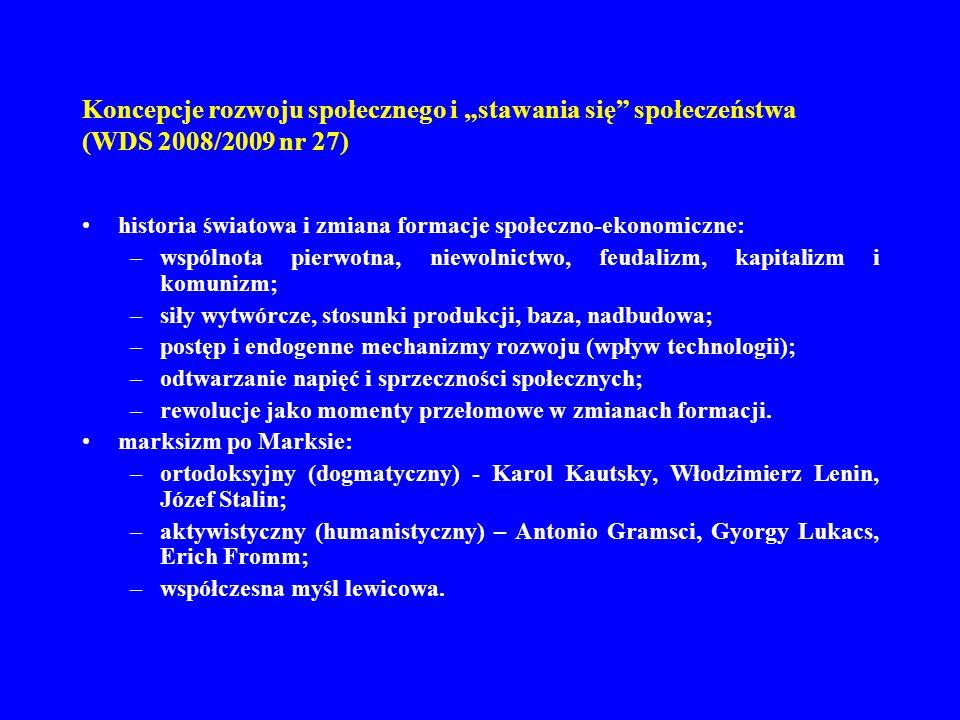 Koncepcje rozwoju społecznego i stawania się społeczeństwa (WDS 2008/2009 nr 27) historia światowa i zmiana formacje społeczno-ekonomiczne: –wspólnota