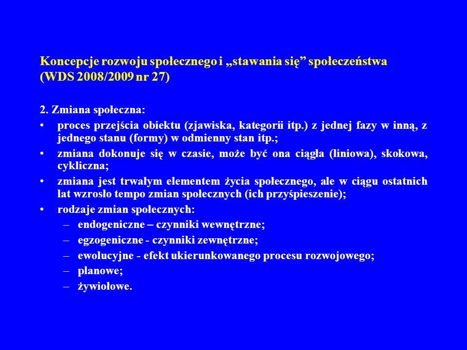 Koncepcje rozwoju społecznego i stawania się społeczeństwa (WDS 2008/2009 nr 27) 3.