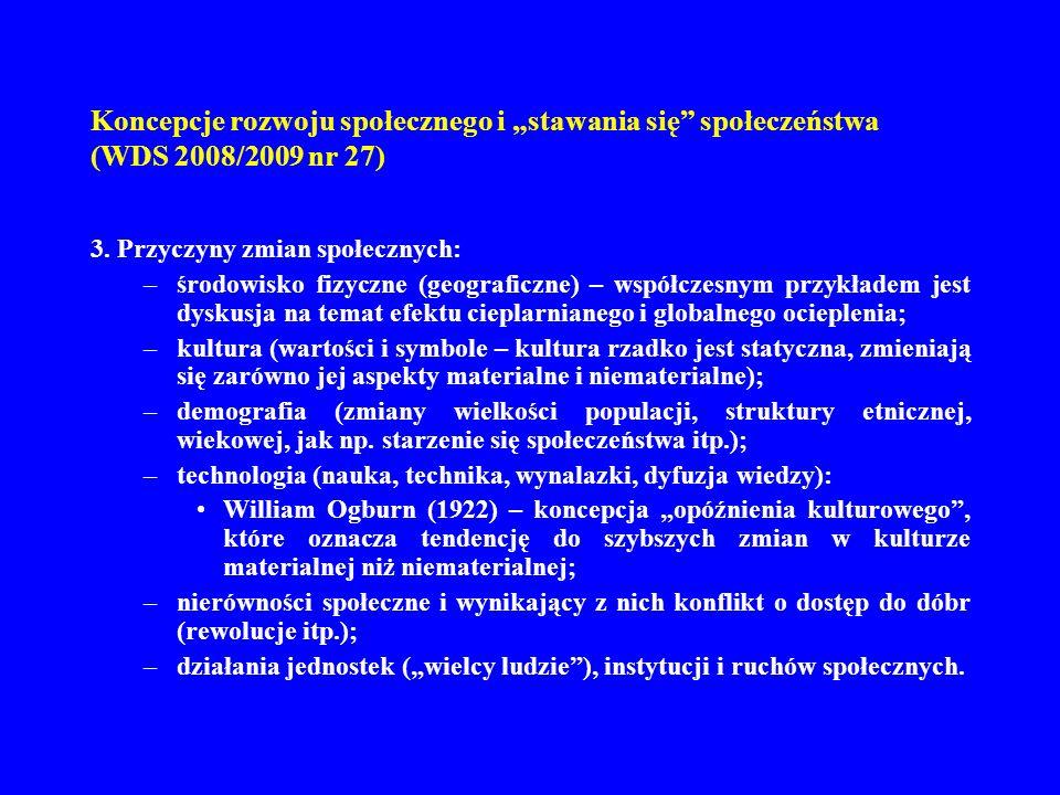 Koncepcje rozwoju społecznego i stawania się społeczeństwa (WDS 2008/2009 nr 27) 3. Przyczyny zmian społecznych: –środowisko fizyczne (geograficzne) –