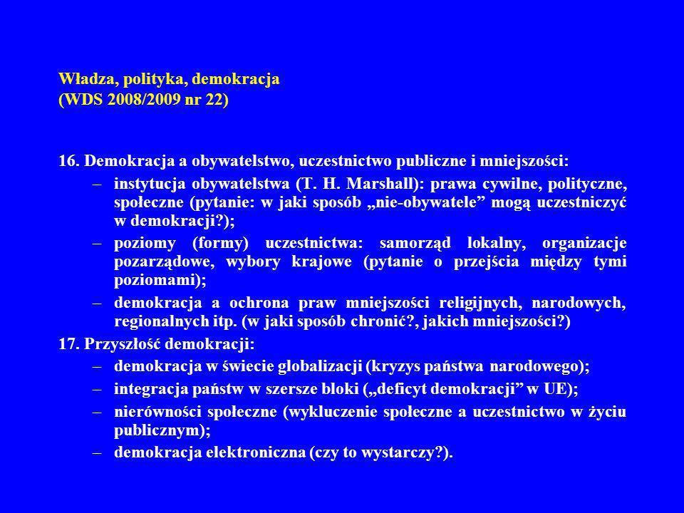 Władza, polityka, demokracja (WDS 2008/2009 nr 22) 16. Demokracja a obywatelstwo, uczestnictwo publiczne i mniejszości: –instytucja obywatelstwa (T. H