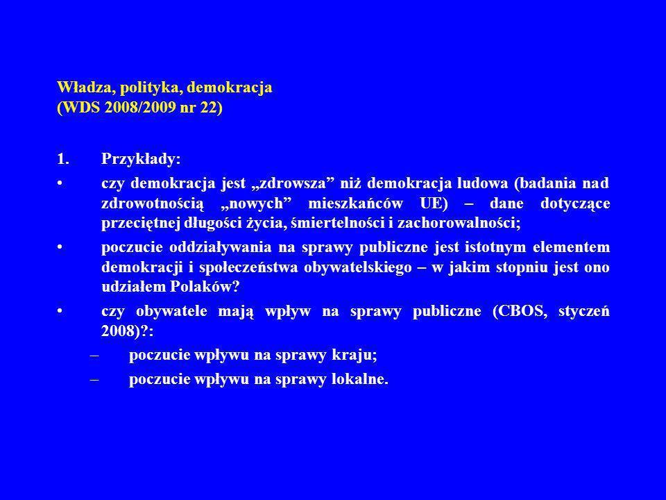 Władza, polityka, demokracja (WDS 2008/2009 nr 22) 1.Przykłady: czy demokracja jest zdrowsza niż demokracja ludowa (badania nad zdrowotnością nowych m