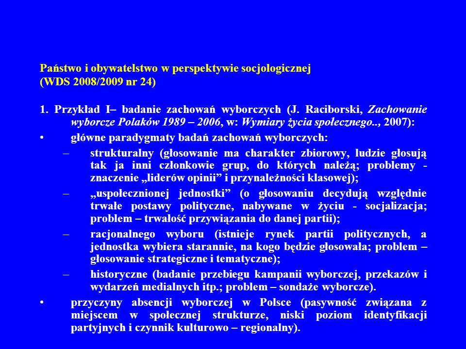 Państwo i obywatelstwo w perspektywie socjologicznej (WDS 2008/2009 nr 24) (cdn.