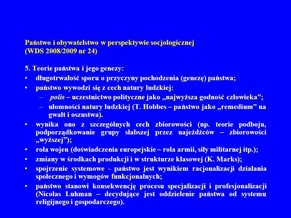 Państwo i obywatelstwo w perspektywie socjologicznej (WDS 2008/2009 nr 24) 6.