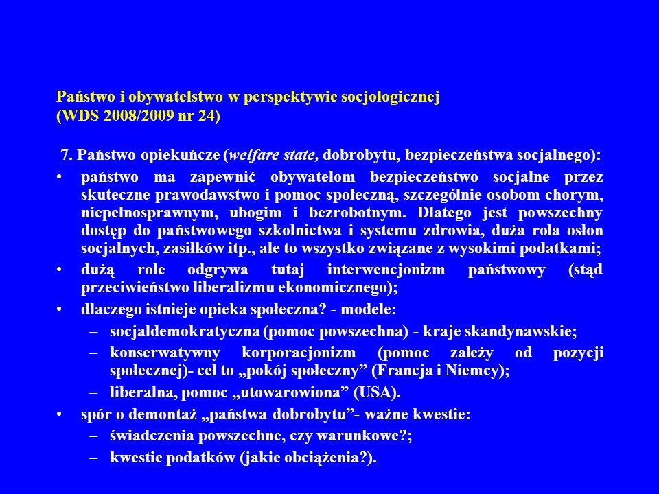 Państwo i obywatelstwo w perspektywie socjologicznej (WDS 2008/2009 nr 24) 8.