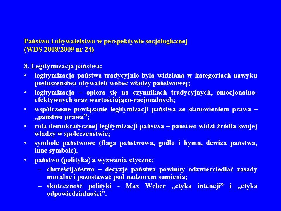 Państwo i obywatelstwo w perspektywie socjologicznej (WDS 2008/2009 nr 24) 9.