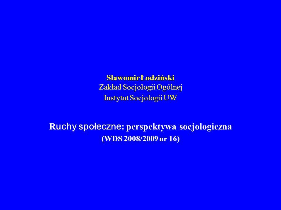 Sławomir Łodziński Zakład Socjologii Ogólnej Instytut Socjologii UW R uchy społeczne : perspektywa socjologiczna (WDS 2008/2009 nr 16)