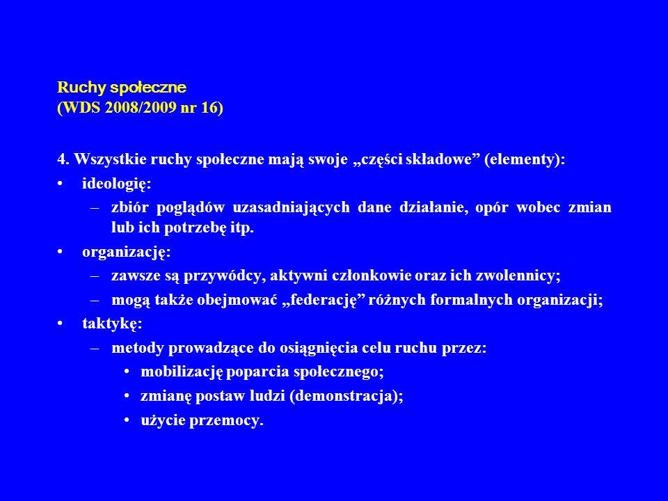 R uchy społeczne (WDS 2008/2009 nr 16) 4. Wszystkie ruchy społeczne mają swoje części składowe (elementy): ideologię: –zbiór poglądów uzasadniających
