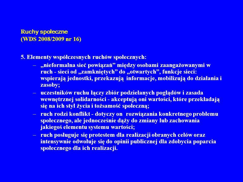 R uchy społeczne (WDS 2008/2009 nr 16) 5. Elementy współczesnych ruchów społecznych: –nieformalna sieć powiązań między osobami zaangażowanymi w ruch -