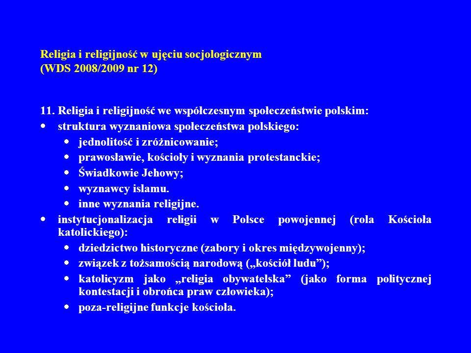 Religia i religijność w ujęciu socjologicznym (WDS 2008/2009 nr 12) 11. Religia i religijność we współczesnym społeczeństwie polskim: struktura wyznan