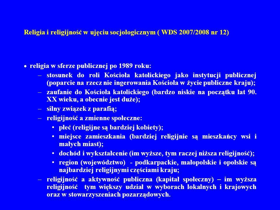 Religia i religijność w ujęciu socjologicznym ( WDS 2007/2008 nr 12) religia w sferze publicznej po 1989 roku: –stosunek do roli Kościoła katolickiego