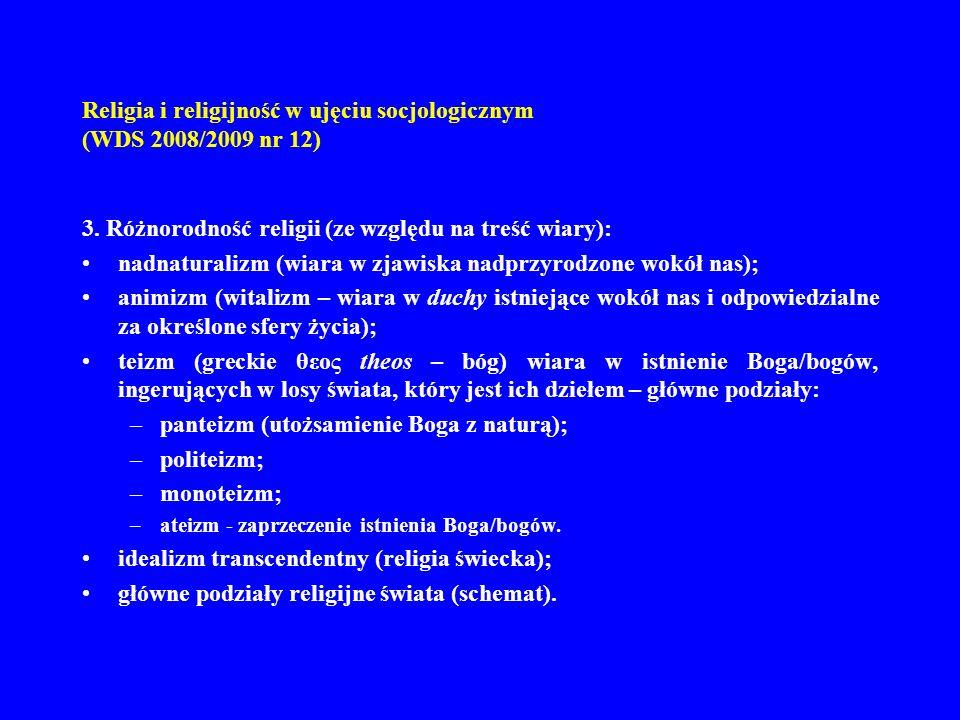 Religia i religijność w ujęciu socjologicznym (WDS 2008/2009 nr 12) 3. Różnorodność religii (ze względu na treść wiary): nadnaturalizm (wiara w zjawis