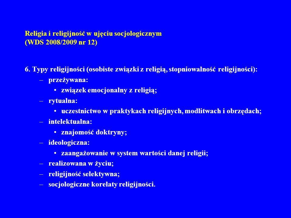 Religia i religijność w ujęciu socjologicznym (WDS 2008/2009 nr 12) 6. Typy religijności (osobiste związki z religią, stopniowalność religijności): –p