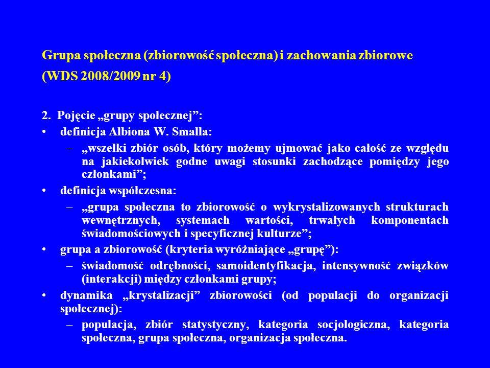Grupa społeczna (zbiorowość społeczna) i zachowania zbiorowe (WDS 2008/2009 nr 4) 2. Pojęcie grupy społecznej: definicja Albiona W. Smalla: –wszelki z