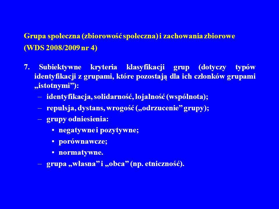 Grupa społeczna (zbiorowość społeczna) i zachowania zbiorowe (WDS 2008/2009 nr 4) 7. Subiektywne kryteria klasyfikacji grup (dotyczy typów identyfikac