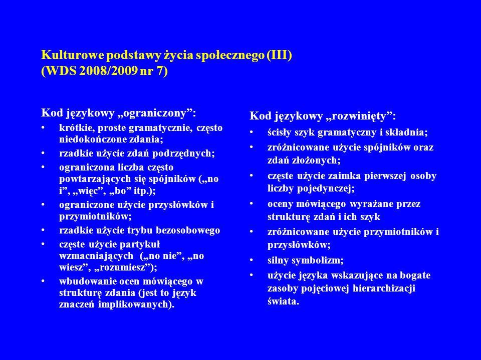 Kulturowe podstawy życia społecznego (III) (WDS 2008/2009 nr 7) 8.