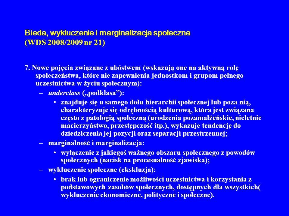 Bieda, wykluczenie i marginalizacja społeczna (WDS 2008/2009 nr 21) 7. Nowe pojęcia związane z ubóstwem (wskazują one na aktywną rolę społeczeństwa, k