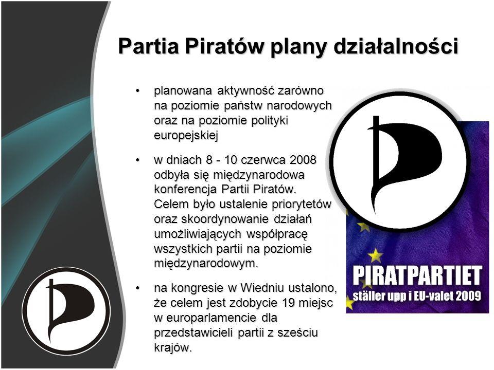 Partia Piratów plany działalności planowana aktywność zarówno na poziomie państw narodowych oraz na poziomie polityki europejskiejplanowana aktywność zarówno na poziomie państw narodowych oraz na poziomie polityki europejskiej w dniach 8 - 10 czerwca 2008 odbyła się międzynarodowa konferencja Partii Piratów.