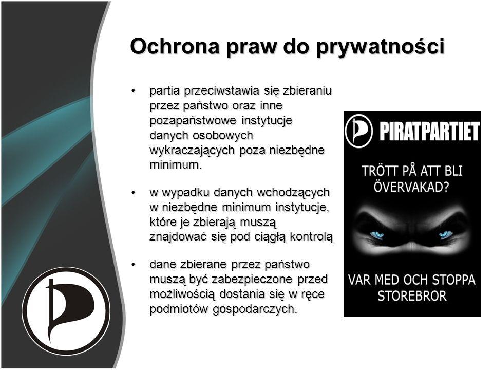 Ochrona praw do prywatności partia przeciwstawia się zbieraniu przez państwo oraz inne pozapaństwowe instytucje danych osobowych wykraczających poza niezbędne minimum.partia przeciwstawia się zbieraniu przez państwo oraz inne pozapaństwowe instytucje danych osobowych wykraczających poza niezbędne minimum.