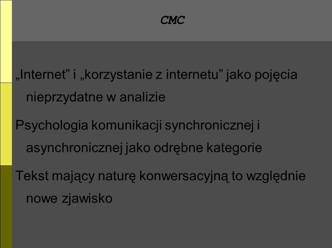 CMC Internet i korzystanie z internetu jako pojęcia nieprzydatne w analizie Psychologia komunikacji synchronicznej i asynchronicznej jako odrębne kategorie Tekst mający naturę konwersacyjną to względnie nowe zjawisko