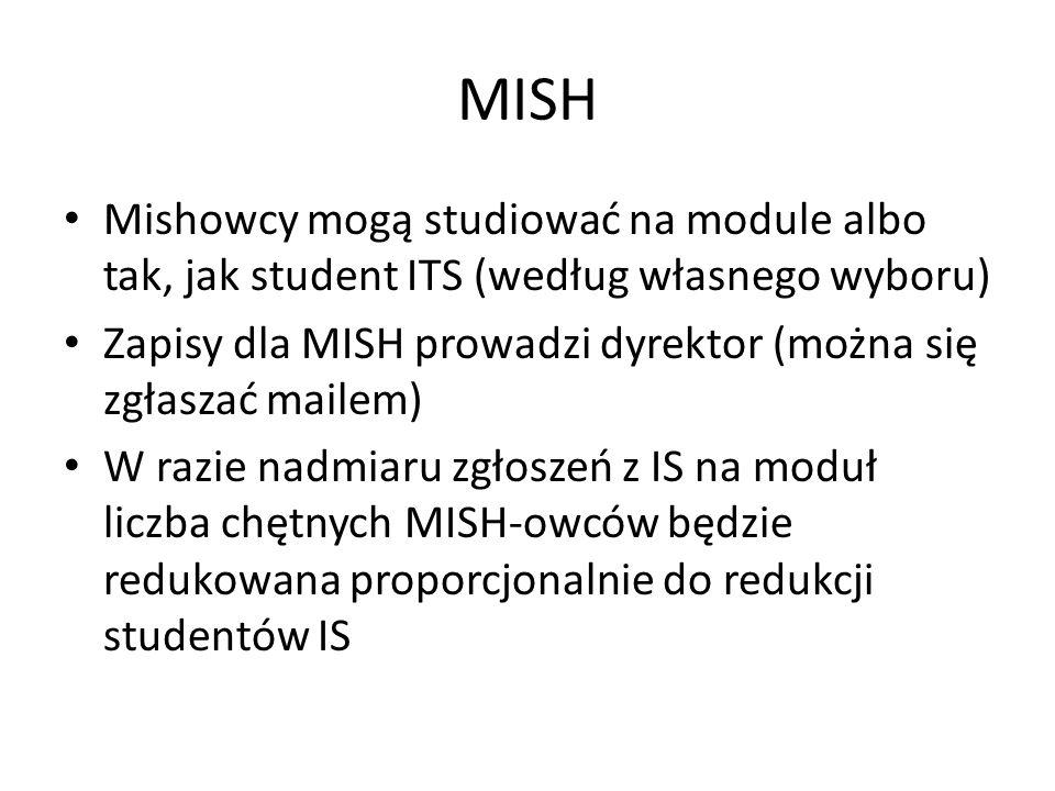 MISH Mishowcy mogą studiować na module albo tak, jak student ITS (według własnego wyboru) Zapisy dla MISH prowadzi dyrektor (można się zgłaszać mailem