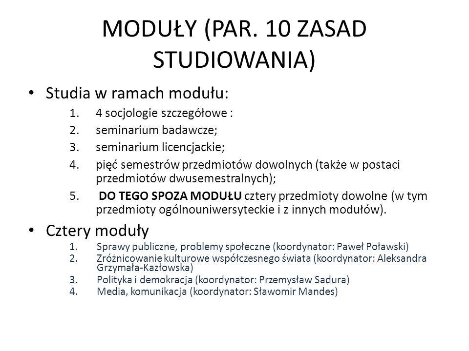 MODUŁY (PAR. 10 ZASAD STUDIOWANIA) Studia w ramach modułu: 1.4 socjologie szczegółowe : 2.seminarium badawcze; 3.seminarium licencjackie; 4.pięć semes