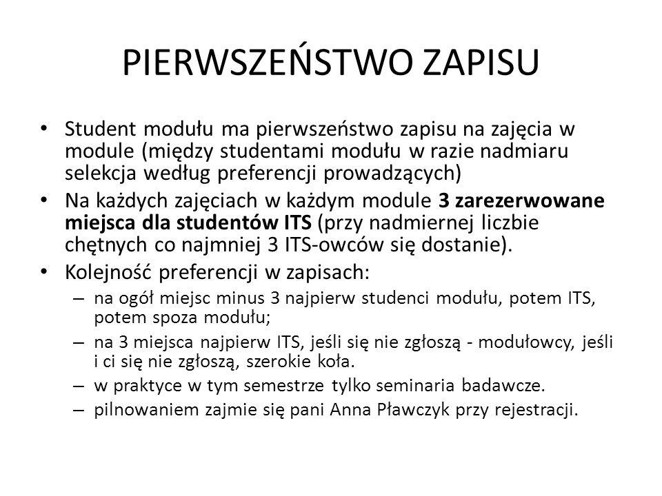 PIERWSZEŃSTWO ZAPISU Student modułu ma pierwszeństwo zapisu na zajęcia w module (między studentami modułu w razie nadmiaru selekcja według preferencji