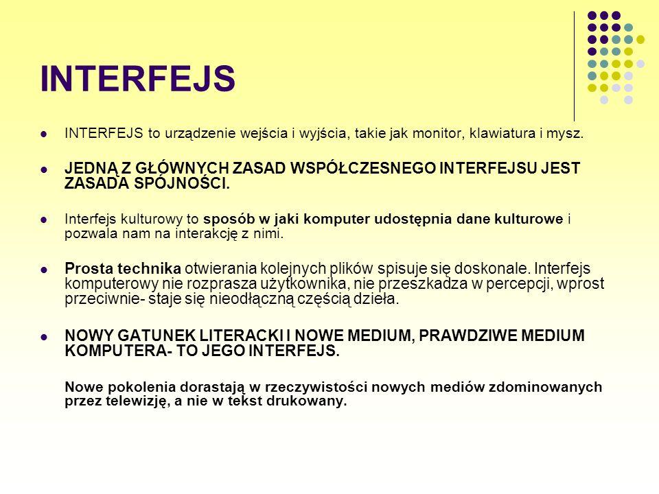 INTERFEJS INTERFEJS to urządzenie wejścia i wyjścia, takie jak monitor, klawiatura i mysz. JEDNĄ Z GŁÓWNYCH ZASAD WSPÓŁCZESNEGO INTERFEJSU JEST ZASADA