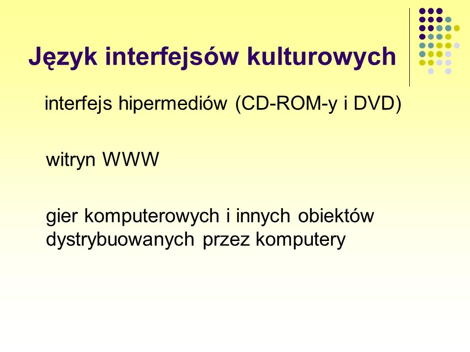 interfejs hipermediów (CD-ROM-y i DVD) witryn WWW gier komputerowych i innych obiektów dystrybuowanych przez komputery Język interfejsów kulturowych