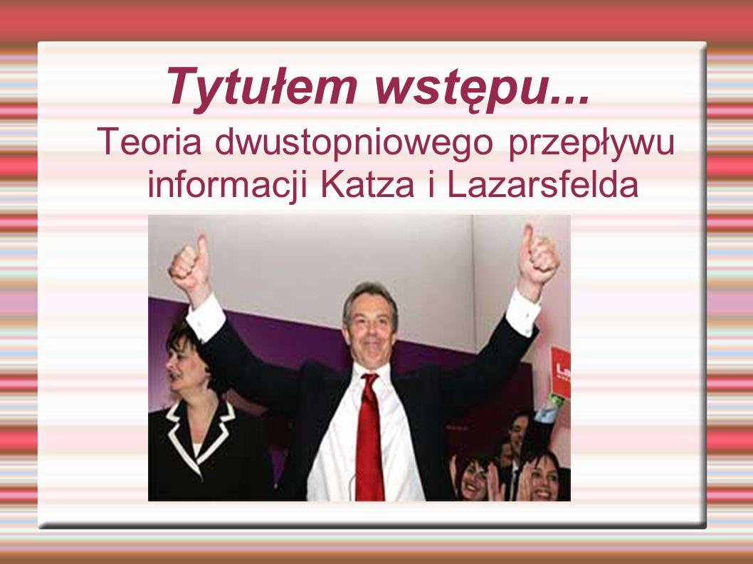 Tytułem wstępu... Teoria dwustopniowego przepływu informacji Katza i Lazarsfelda