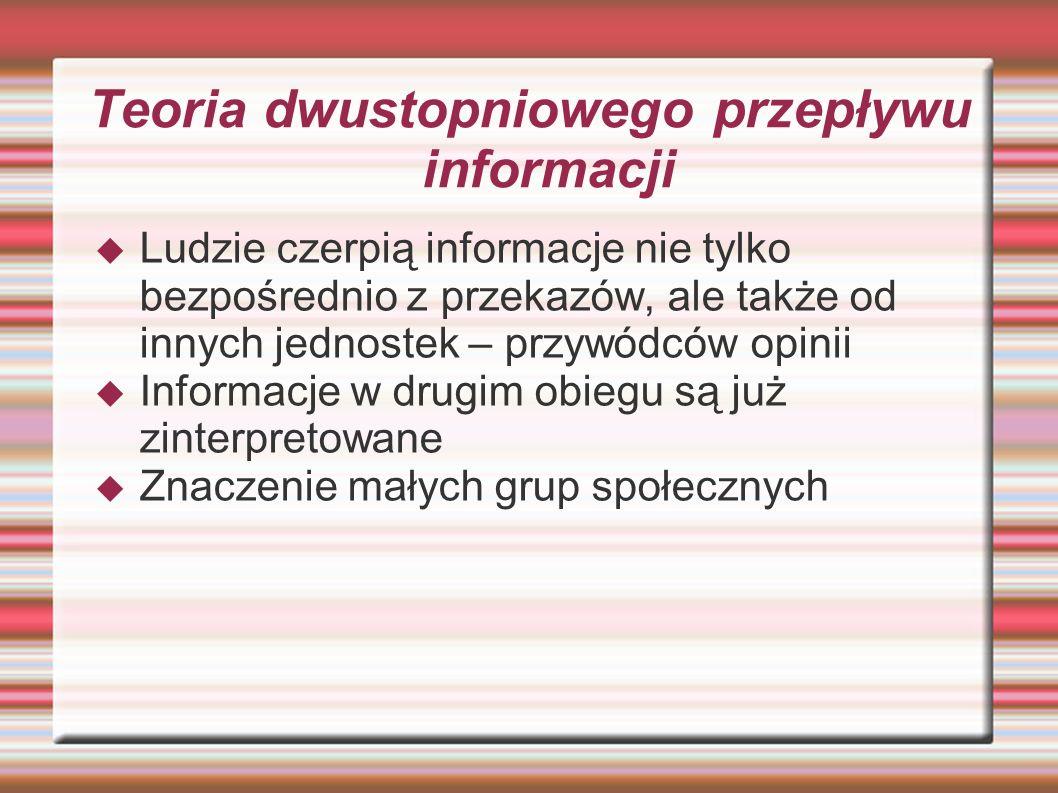 Teoria dwustopniowego przepływu informacji Ludzie czerpią informacje nie tylko bezpośrednio z przekazów, ale także od innych jednostek – przywódców op