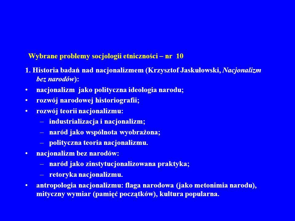 Wybrane problemy socjologii etniczności – nr 10 1. Historia badań nad nacjonalizmem (Krzysztof Jaskułowski, Nacjonalizm bez narodów): nacjonalizm jako
