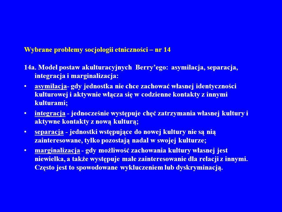 Wybrane problemy socjologii etniczności – nr 14 14a. Model postaw akulturacyjnych Berryego: asymilacja, separacja, integracja i marginalizacja: asymil