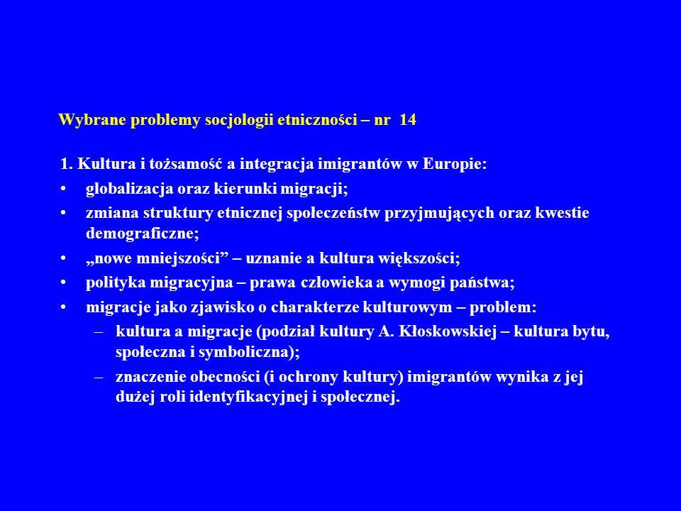 Wybrane problemy socjologii etniczności – nr 14 1. Kultura i tożsamość a integracja imigrantów w Europie: globalizacja oraz kierunki migracji; zmiana