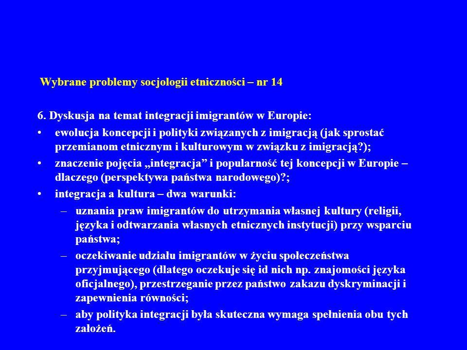 Wybrane problemy socjologii etniczności – nr 14 6. Dyskusja na temat integracji imigrantów w Europie: ewolucja koncepcji i polityki związanych z imigr