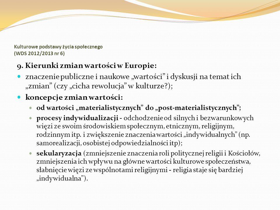Kulturowe podstawy życia społecznego (WDS 2012/2013 nr 6) 9. Kierunki zmian wartości w Europie: znaczenie publiczne i naukowe wartości i dyskusji na t