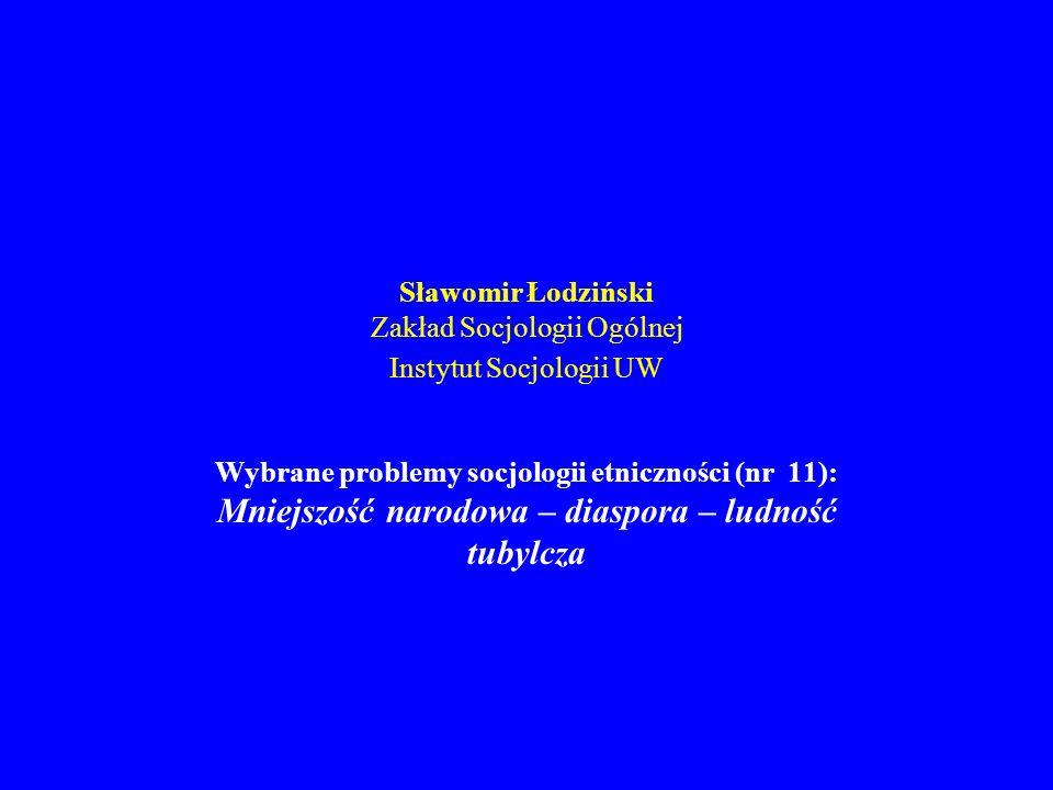 Sławomir Łodziński Zakład Socjologii Ogólnej Instytut Socjologii UW Wybrane problemy socjologii etniczności (nr 11): Mniejszość narodowa – diaspora –
