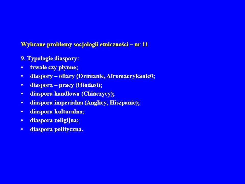Wybrane problemy socjologii etniczności – nr 11 9. Typologie diaspory: trwałe czy płynne; diaspory – ofiary (Ormianie, Afromaerykanie0; diaspora – pra