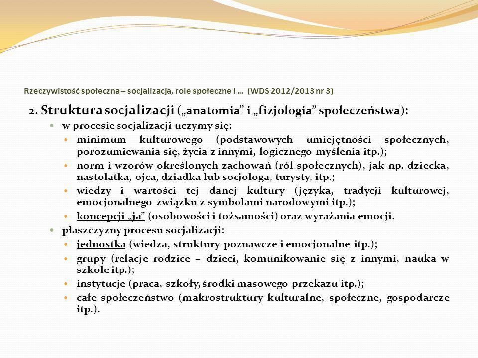 Rzeczywistość społeczna – socjalizacja, role społeczne i … (WDS 2012/2013 nr 3) 2. Struktura socjalizacji (anatomia i fizjologia społeczeństwa): w pro