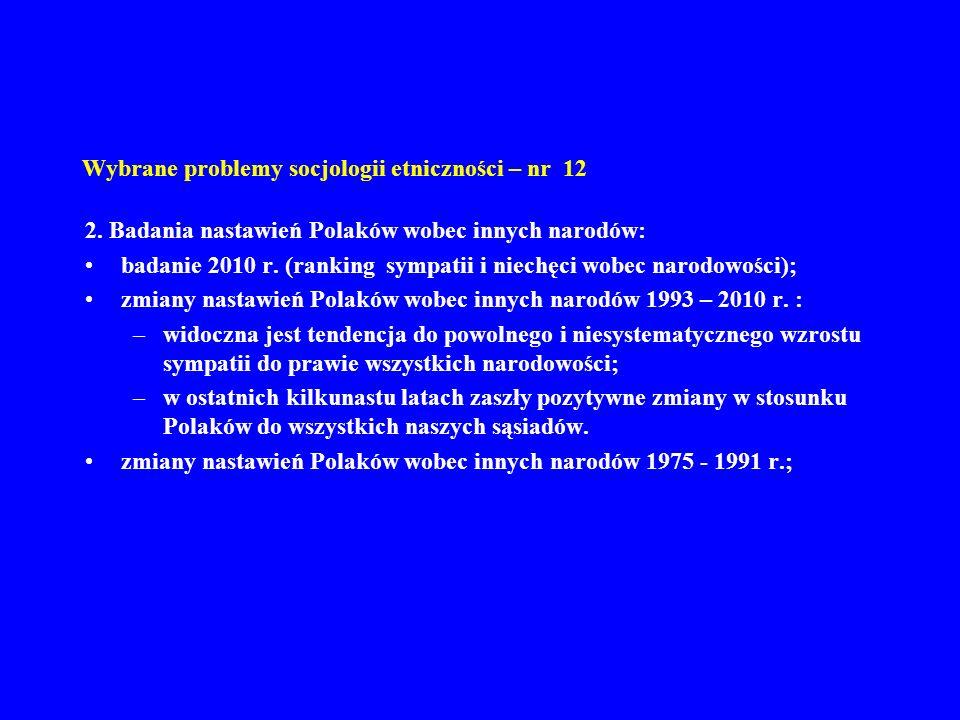 Wybrane problemy socjologii etniczności – nr 12 2. Badania nastawień Polaków wobec innych narodów: badanie 2010 r. (ranking sympatii i niechęci wobec