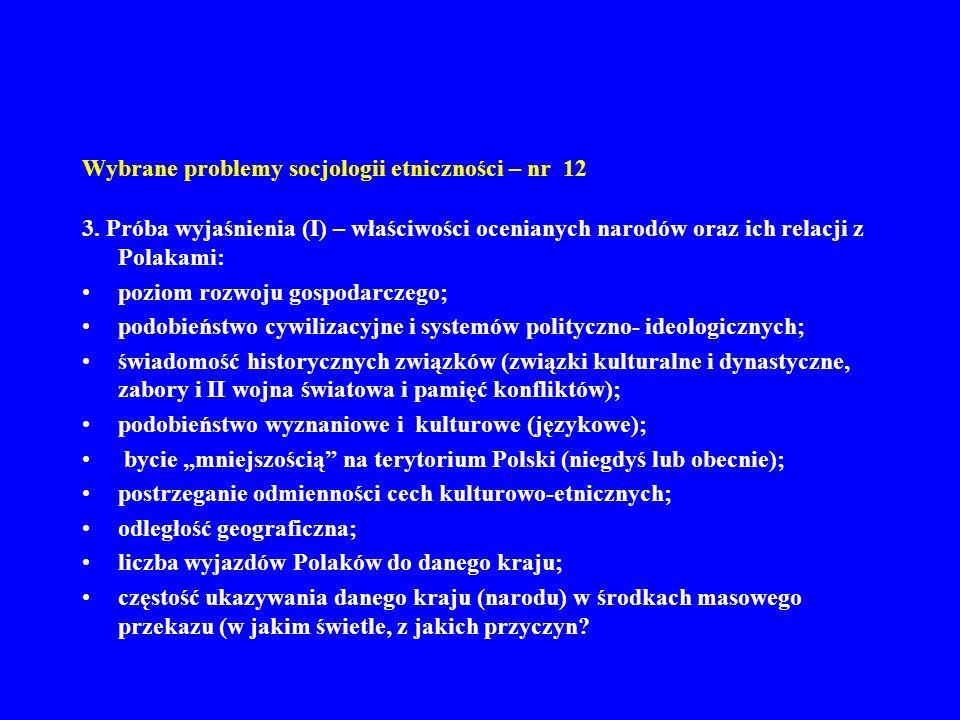 Wybrane problemy socjologii etniczności – nr 12 3. Próba wyjaśnienia (I) – właściwości ocenianych narodów oraz ich relacji z Polakami: poziom rozwoju