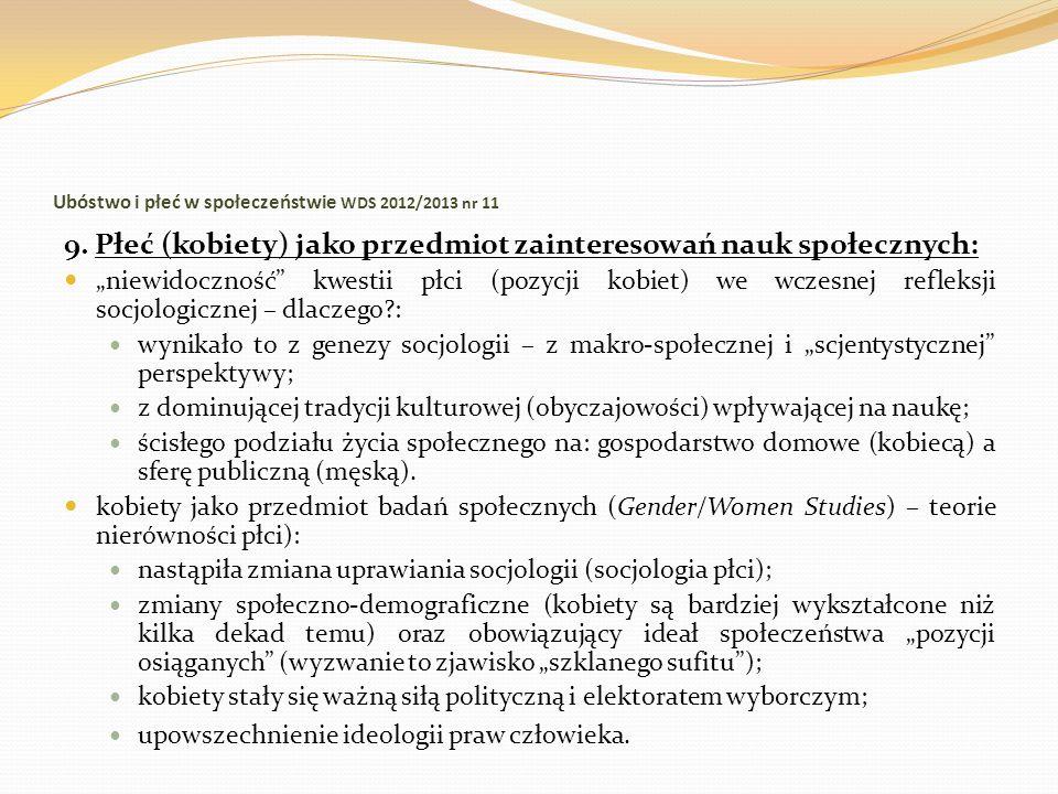 Ubóstwo i płeć w społeczeństwie WDS 2012/2013 nr 11 9. Płeć (kobiety) jako przedmiot zainteresowań nauk społecznych: niewidoczność kwestii płci (pozyc