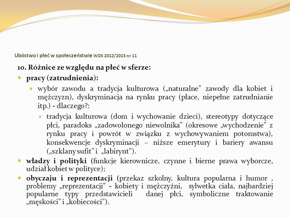 Ubóstwo i płeć w społeczeństwie WDS 2012/2013 nr 11 10. Różnice ze względu na płeć w sferze: pracy (zatrudnienia): wybór zawodu a tradycja kulturowa (