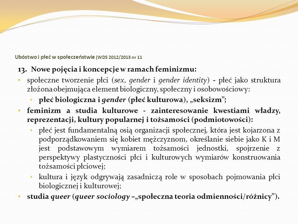 Ubóstwo i płeć w społeczeństwie (WDS 2012/2013 nr 11 13. Nowe pojęcia i koncepcje w ramach feminizmu: społeczne tworzenie płci (sex, gender i gender i